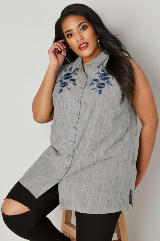 the letter black grey floral embroidered sleeveless shirt plus size 16 to 32 20891