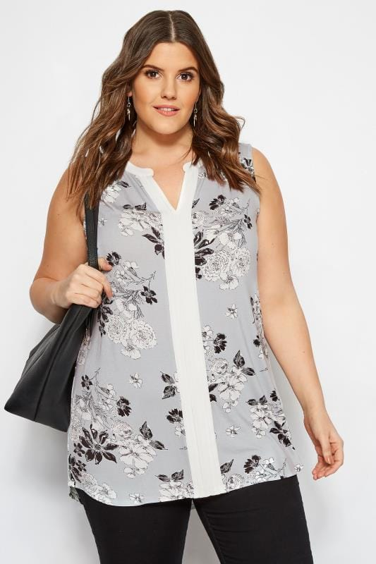 8ffff649671 Plus Size Grey Floral Pintuck Top