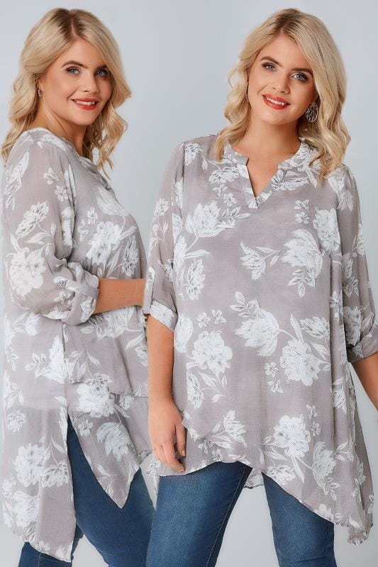 Grey Floral Print Layered Blouse With Notch Neck & Dipped Hem