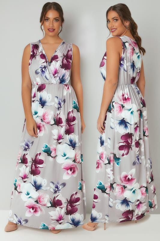 Grey Floral Print Slinky Stretch Maxi Dress With Wrap Front