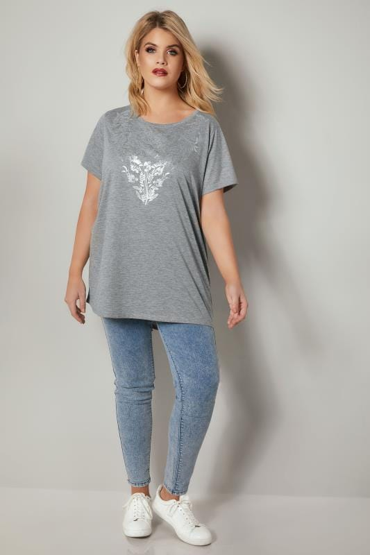 Grey Floral Print T-Shirt With Foil Finish & Curved Hem
