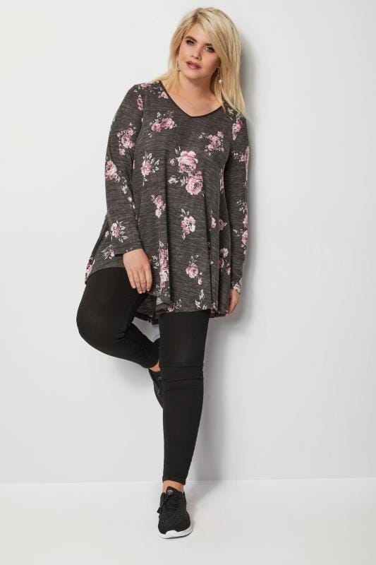 Plus Size Jersey Tops Grey Floral Swing Top