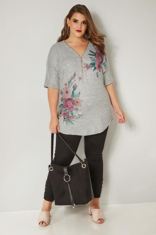 Grey Floral Zip Neck Top