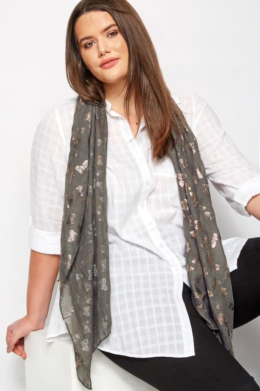 Plus Size Scarves Grey Foil Butterfly Print Scarf
