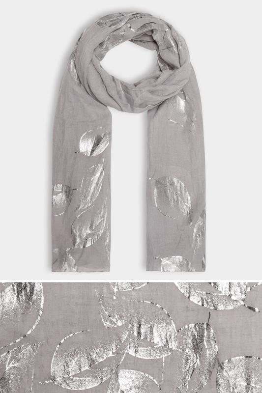 Plus Size Scarves Grey Foil Leaf Print Scarf