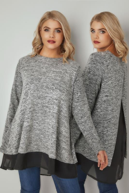 Grey Foil Print Fine Knit Top With Split Back & Woven Panel