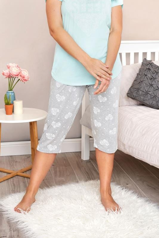 Plus Size Pyjamas Grey Heart Cropped Loungewear Bottoms