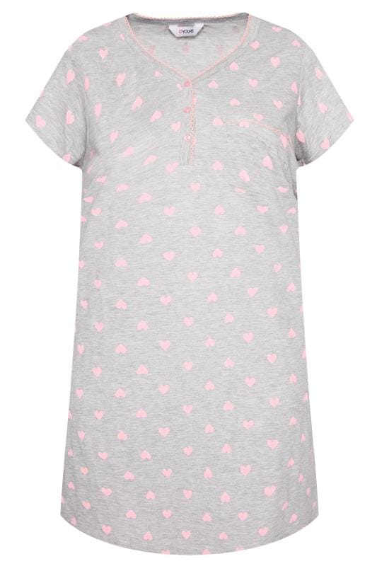 Plus Size Nightdresses & Chemises Grey & Pink Heart Print Nightdress