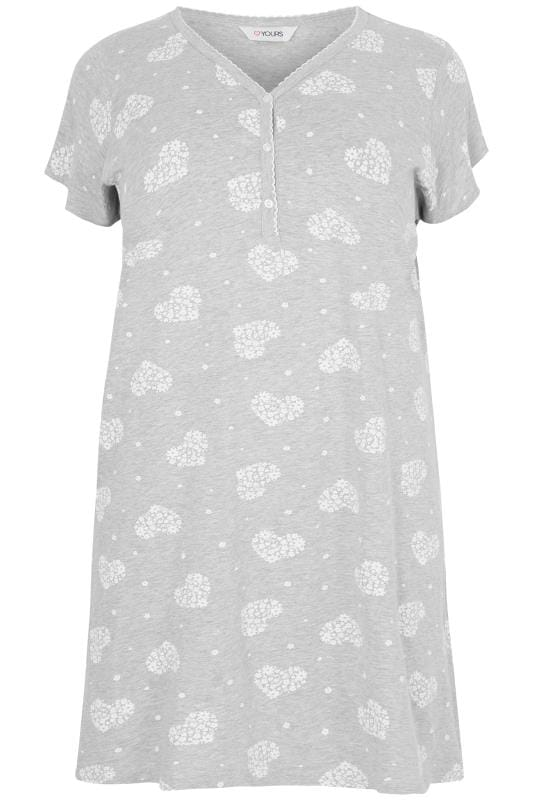 Plus Size Nightdresses Grey Heart Print Nightdress