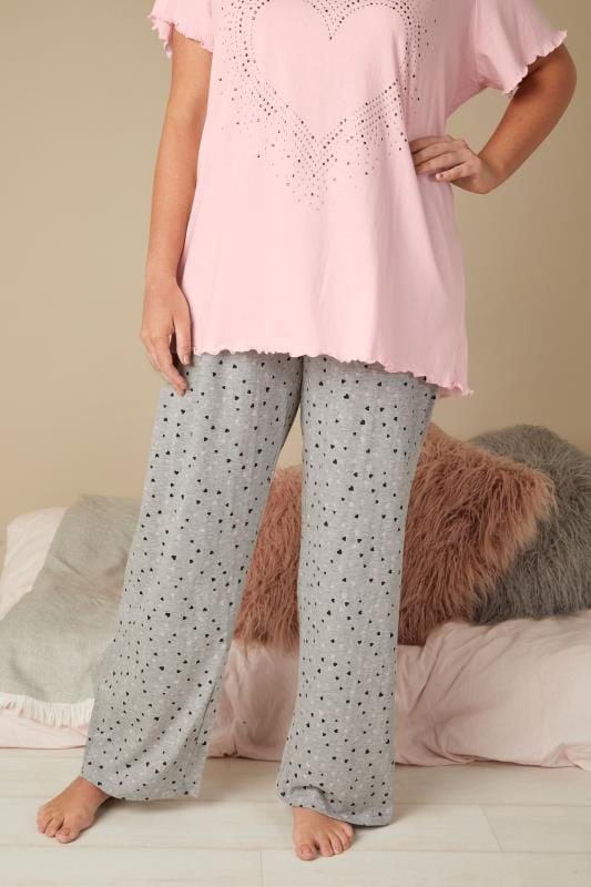 Grey Heart Print Pyjama Bottoms
