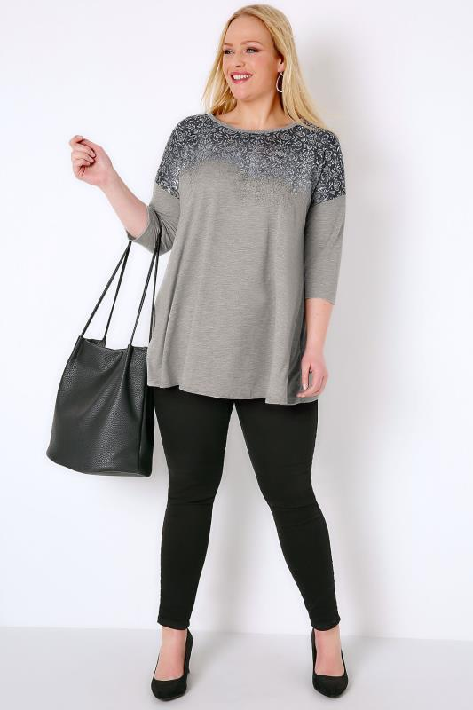 Grey Jersey Swing Top With Faded Metallic Print
