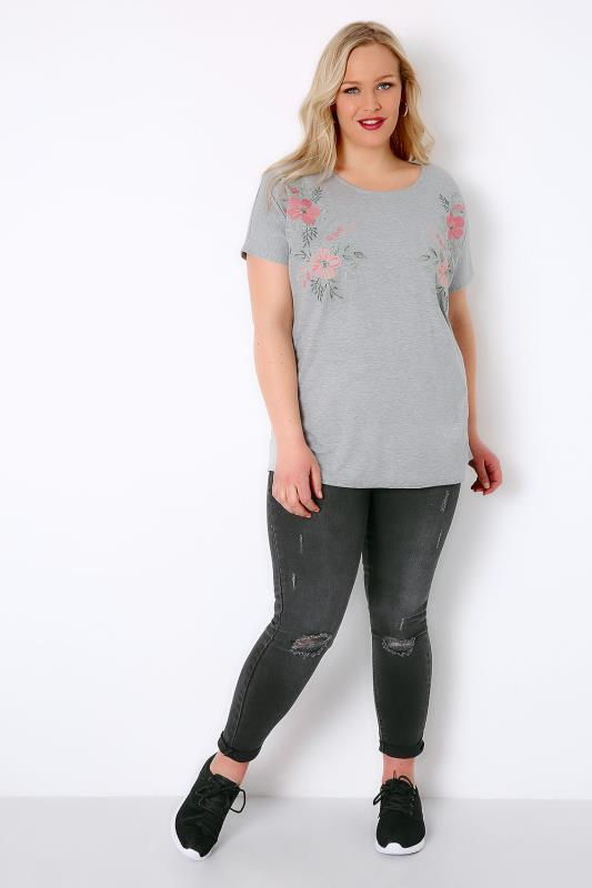 Grey Jersey Top With Mirror Embroidered Detail