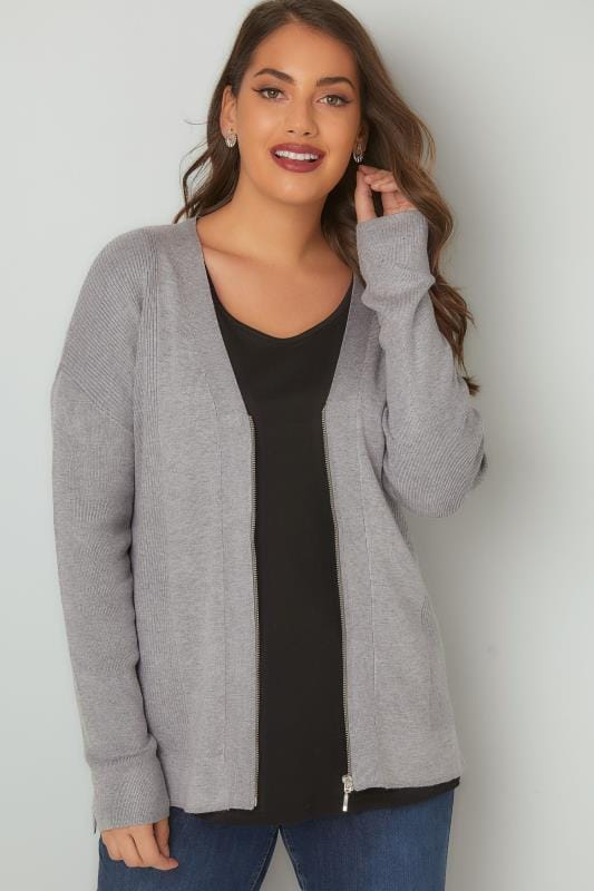 Grey Knit Cardigan With Zip Front
