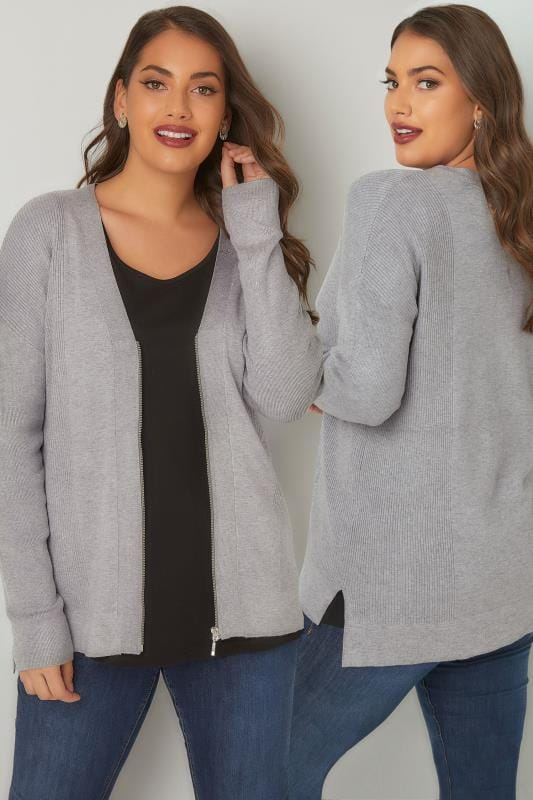 Plus Size Cardigans Grey Knit Cardigan With Zip Front