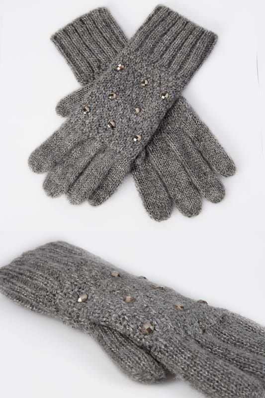 Plus Size Gloves Grey Knitted Gloves With Diamante Detail