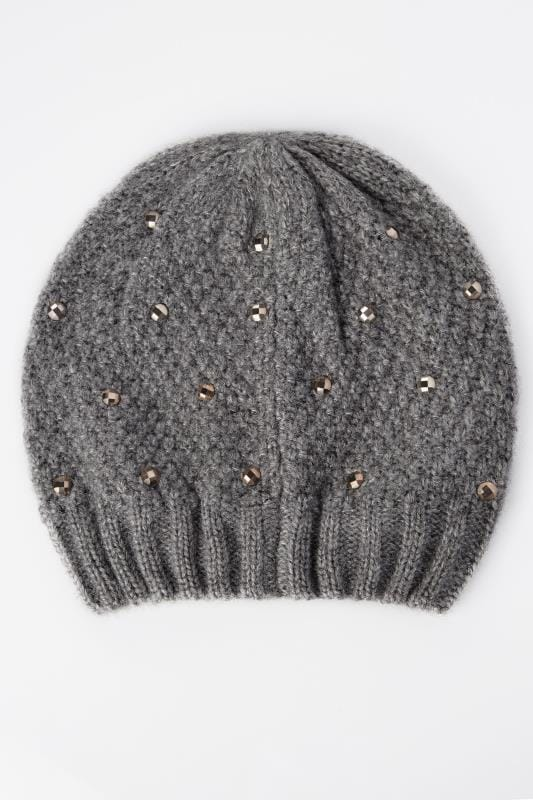 Grey Knitted Hat With Diamante Details