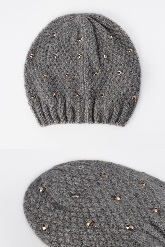 Hats Grey Knitted Hat With Diamante Details 152325