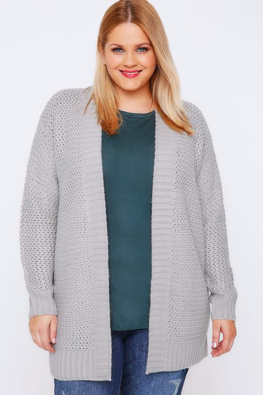 Grey Knitted Longline Cardigan With Ribbed Border