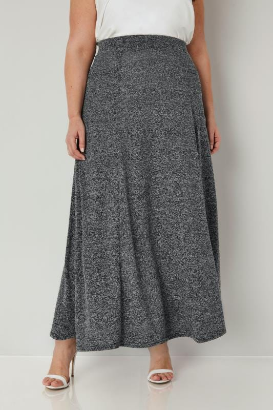 Plus Size Maxi Skirts Grey Knitted Maxi Skirt With Pockets