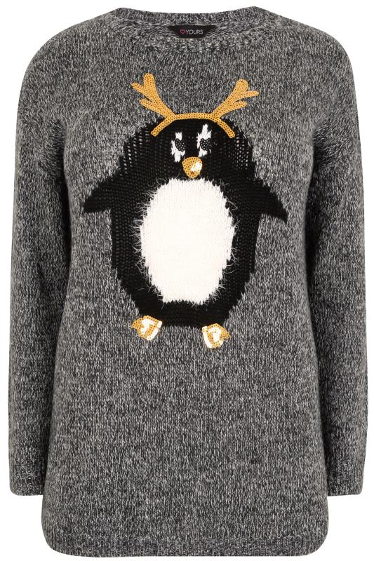 Grey Knitted Christmas Novelty Jumper With Sequin Embellishment
