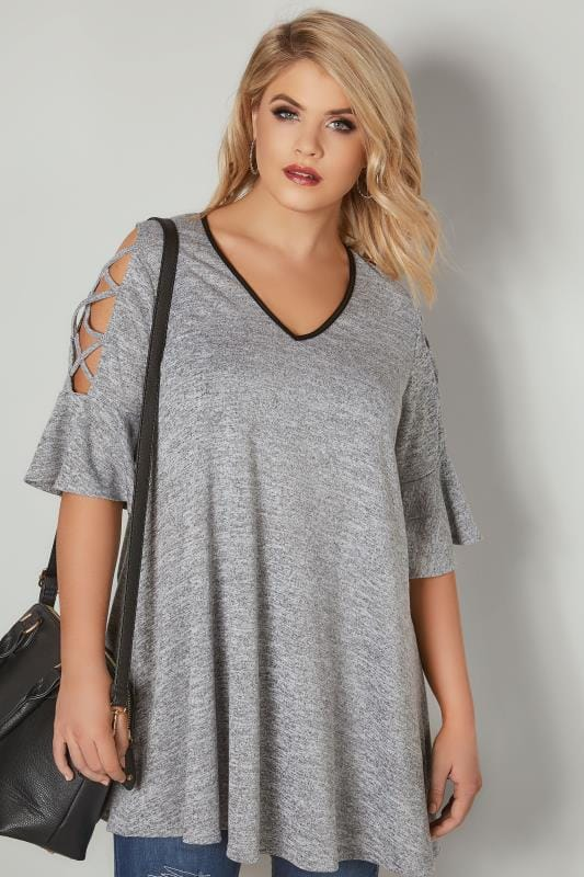 Grey Cold Shoulder Top With Lattice Flute Sleeves