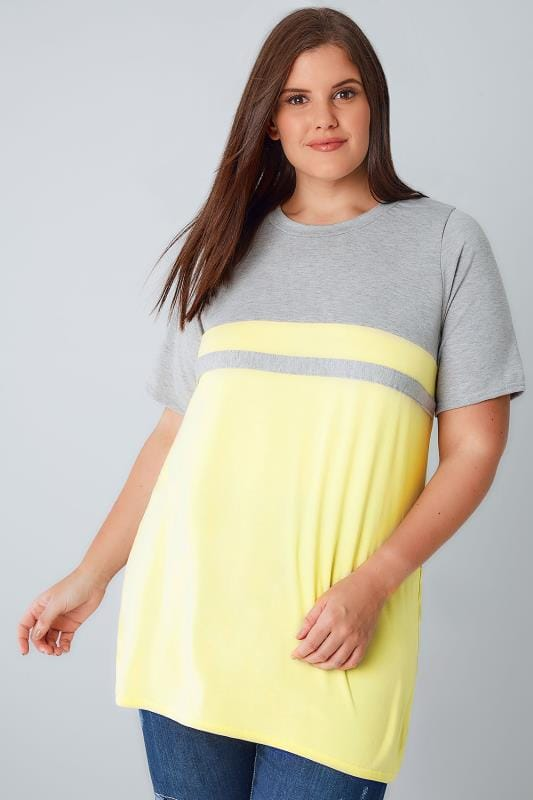 Jersey Tops Grey & Lemon Colour Block Short Sleeve T-Shirt 132366