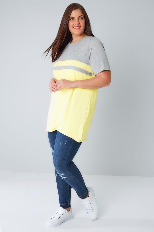 Grey & Lemon Colour Block Short Sleeve T-Shirt