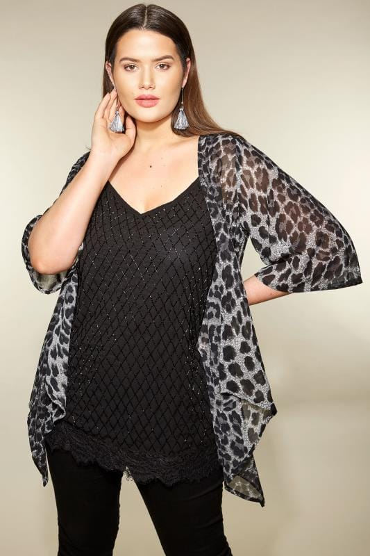 Plus Size Cover Ups Grey Leopard Print Cover Up