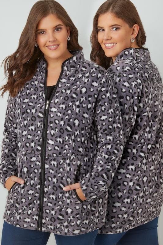 Plus Size Fleeces Grey Lightweight Animal Print Zip Through Fleece