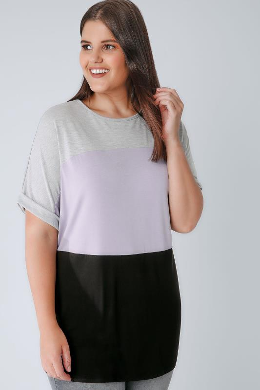Grey, Lilac & Black Colour Block Jersey Top
