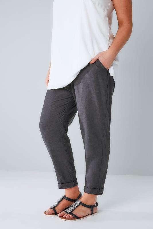 Grote maten linnen broeken Grey Linen Mix Pull On Tapered Trousers With Pockets 142030
