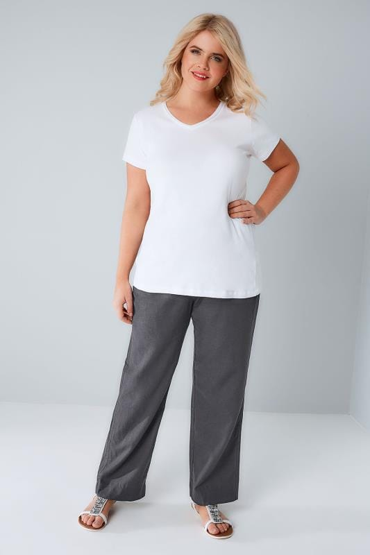 Grey Linen Mix Pull On Wide Leg Trousers