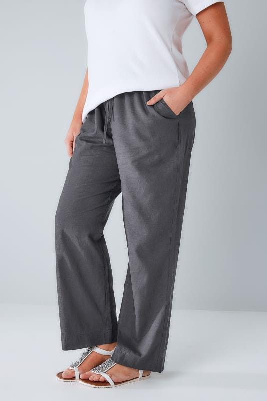 Grote maten linnen broeken Grey Linen Mix Pull On Wide Leg Trousers With Pockets 142037