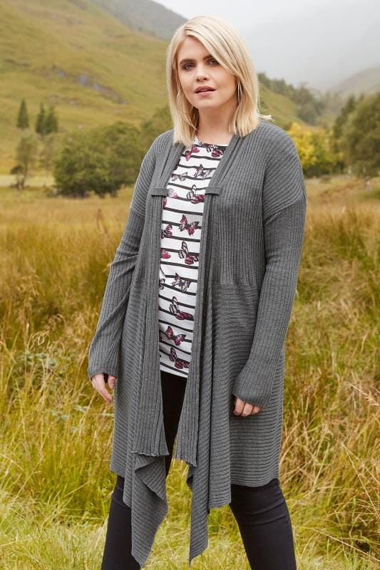 Plus Size Knitted Cardigans Grey Ribbed Waterfall Cardigan