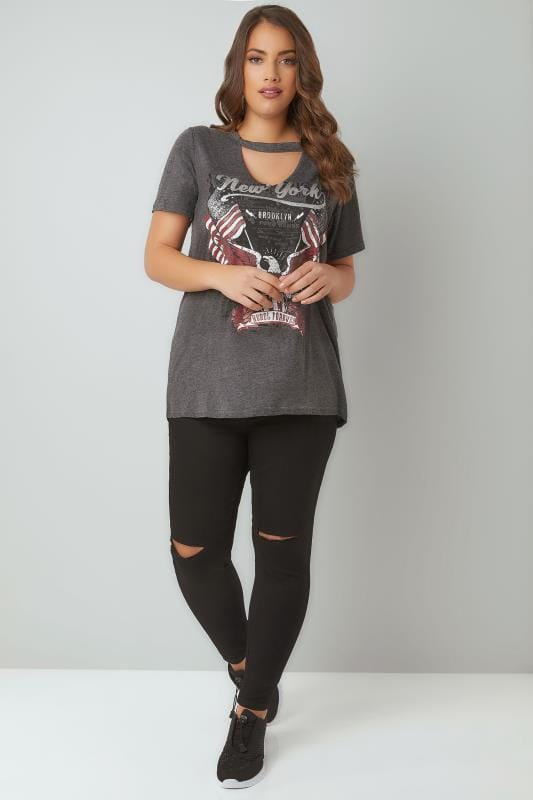 Grey Longline Slogan Print T-Shirt With Choker Neck