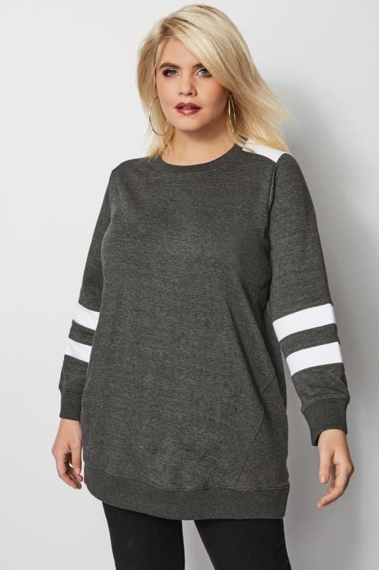 Plus Size Sweatshirts Grey Longline Varsity Sweater