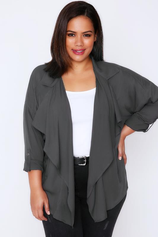 Grey Longline Waterfall Drape Jacket