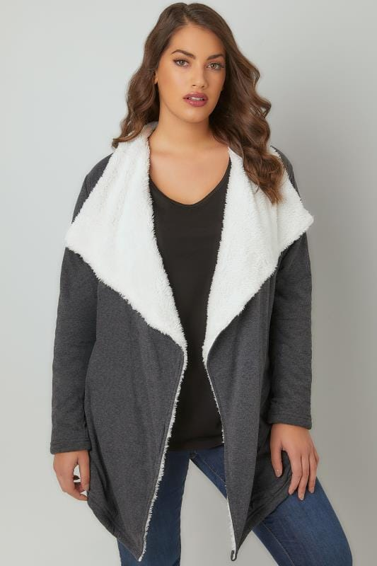 Grey Longline Waterfall Fleece Cardigan
