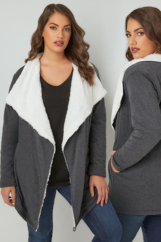 Plus Size Fleeces Grey Longline Waterfall Fleece Cardigan