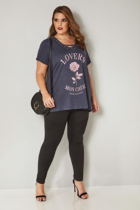 Grey 'Lovers' Slogan T-Shirt With Stud Details