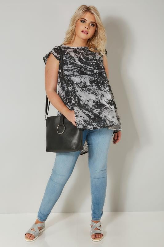 Grey Marble Effect Chiffon Top