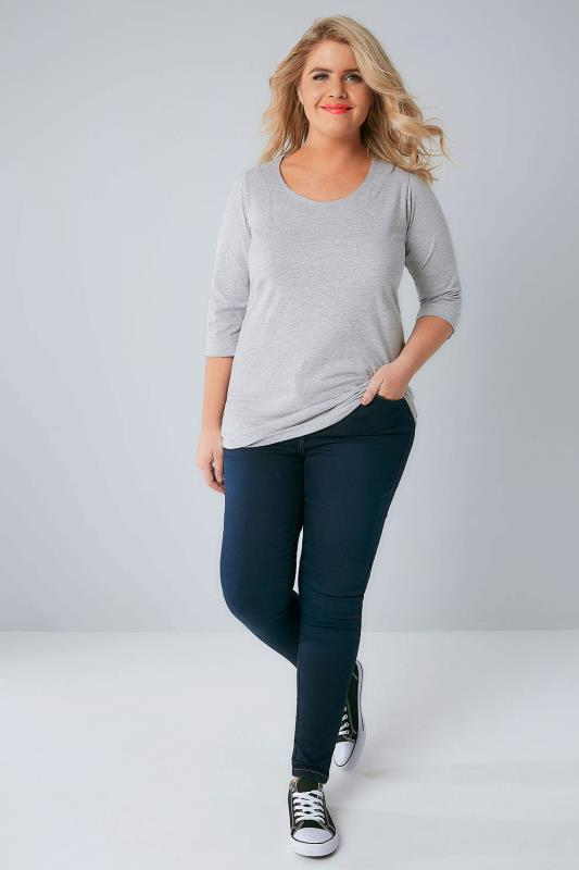 Grey Marl Band Scoop Neckline Basic T-Shirt With 3/4 Sleeves
