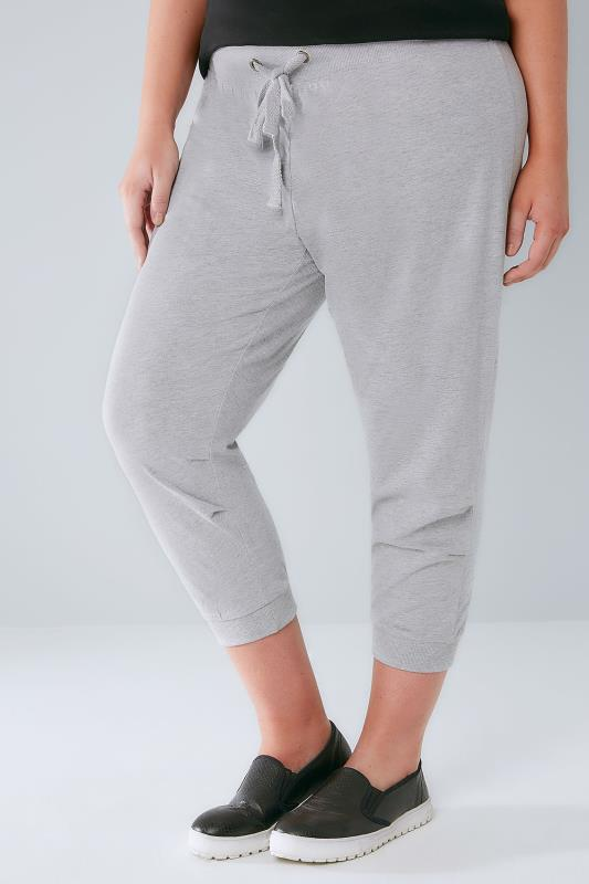 Grey Marl Basic Cotton Jersey Cropped Joggers With Fold Detail
