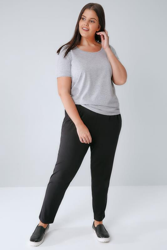 Grey Marl Basic T-Shirt With Scooped Neck