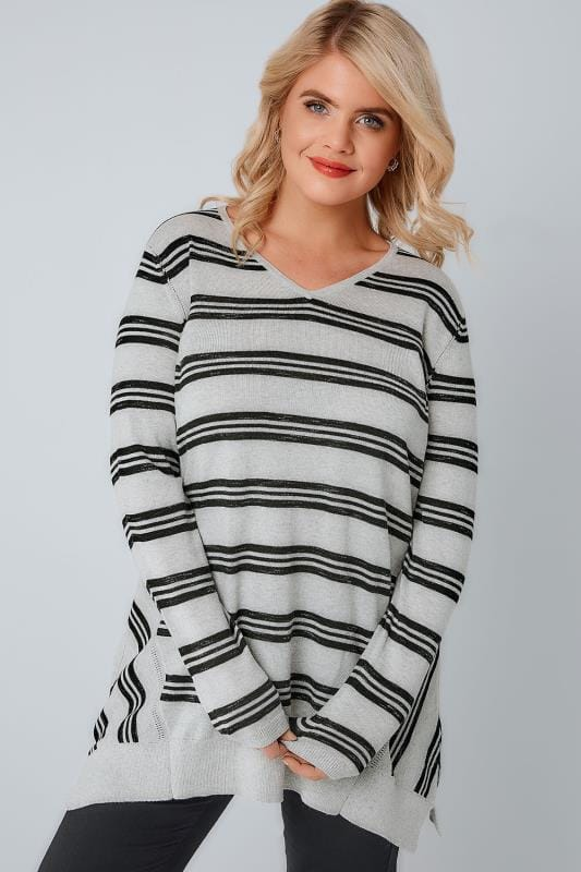 Grey Marl & Black Stripe Fine Knit Longline Jumper
