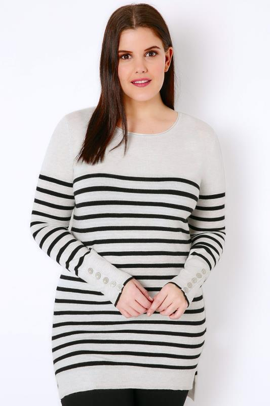 Grey Marl & Black Stripe Jumper With Button Cuffs