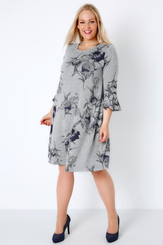 Grey Marl & Blue Floral Print Swing Dress With Flute Sleeves