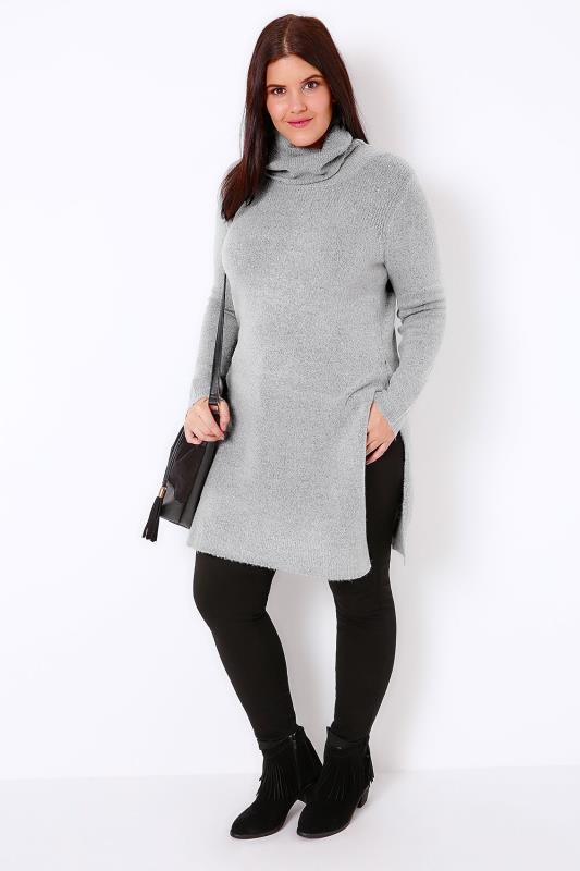 Grey Marl Boucle Longline Jumper With Side Slits & Cowl Neck