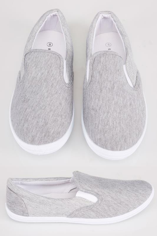 Trainers & Plimsolls  Grey Marl Canvas Slip On Plimsolls 102095