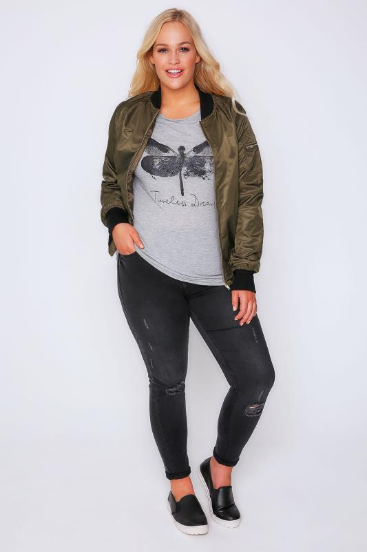 Grey Marl Dragonfly Print T-Shirt With Keyhole Back
